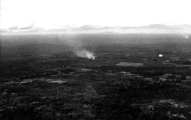 Viet Cong position on fire
