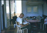 Leroy Herrick deep in study with Lloyd Washer at siesta